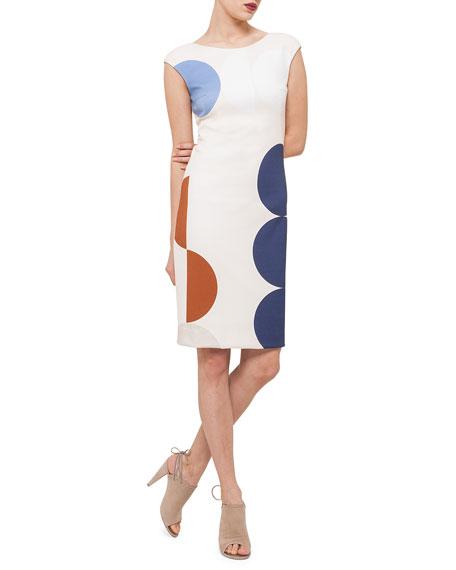 Akris punto Scoop-Back Circle-Print Dress