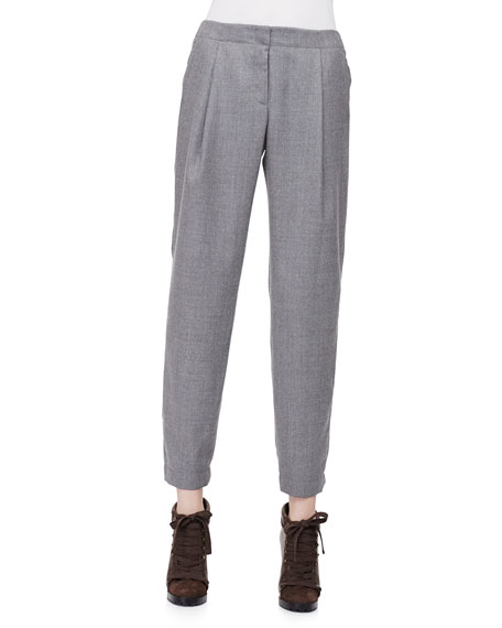 Akris punto Smocked-Cuff Pleated Ankle Pants