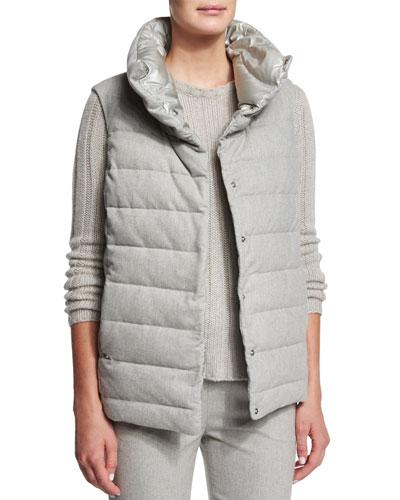 Reversible Puffer Vest, Light Gray Melange/Dove