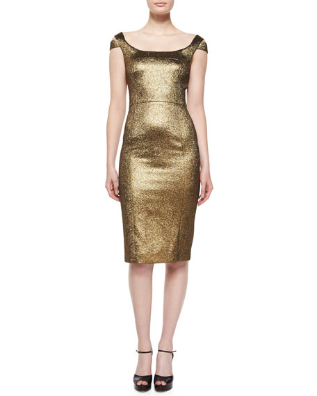 Michael Kors Collection Metallic Off-The-Shoulder Sheath Dress,
