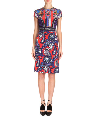 Scroll-Print Silk Sheath Dress, Red/Blue