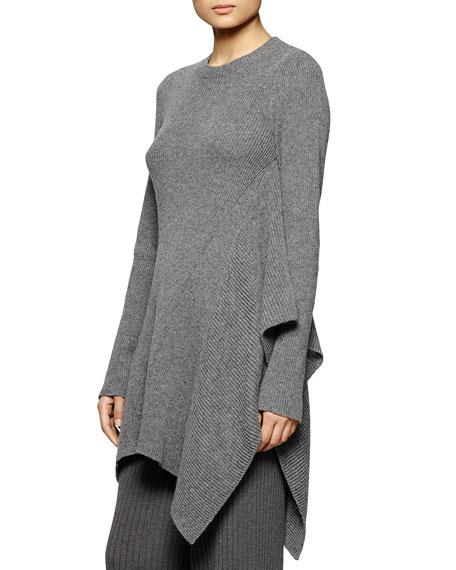 Stella McCartney Crewneck Ribbed Cascading Tunic Sweater