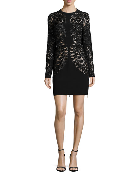 Elie Saab Long-Sleeve Lace Cutout Cocktail Dress
