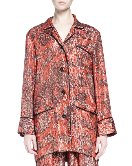 Lanvin Long-Sleeve Metallic-Print Pajama-Inspired Top, Fire Red