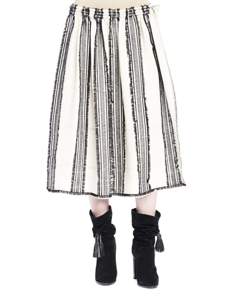 Lanvin Striped A-Line Skirt with Frayed Edging, Ecru/Black