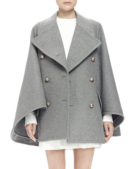 Image 3 of 3: Double-Breasted Cape Coat, Gray