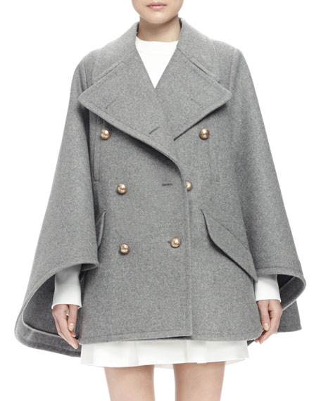 Image 1 of 3: Double-Breasted Cape Coat, Gray