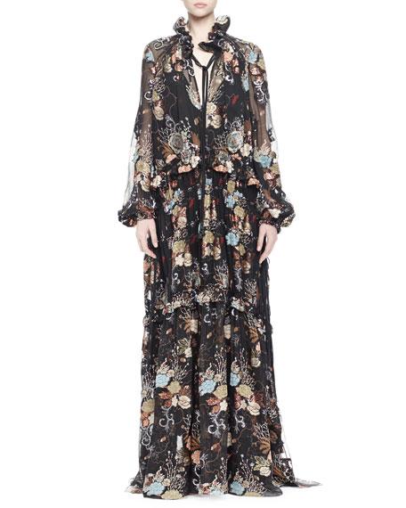 Printed Ruffled Peasant Gown, Black Multi