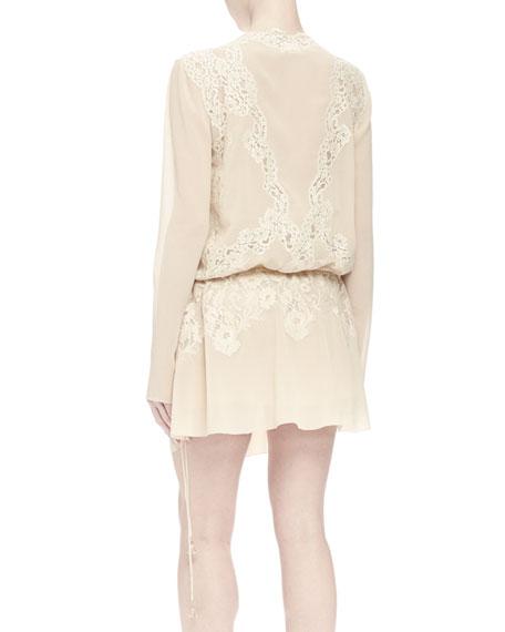 624485551c Long-Sleeve Lace Wrap Dress Cream