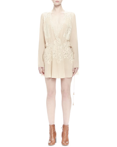 Long-Sleeve Lace Wrap Dress, Cream