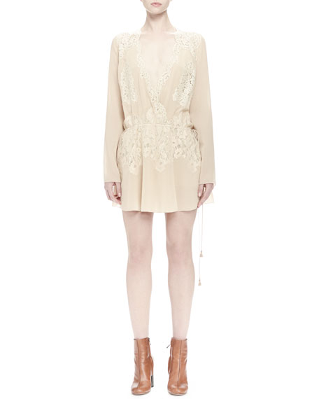 Cream Lace Dress - I love this for the rehearsal or a shower./ I like the lace under sheer amy. Find this Pin and more on Ideas by Shelley Mills. The Be-Gauze I Love You Cream Lace Dress has floral lace frolicking across adorable scallops at the front of a rounded neckline and into a .