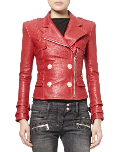 Grained Leather Double-Breasted Moto Jacket