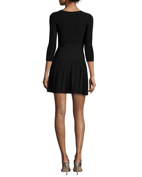 Paneled Knit Pleated Flounce Dress