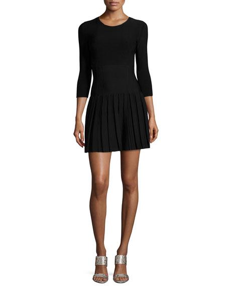 Cushnie Et Ochs Paneled Knit Pleated Flounce Dress