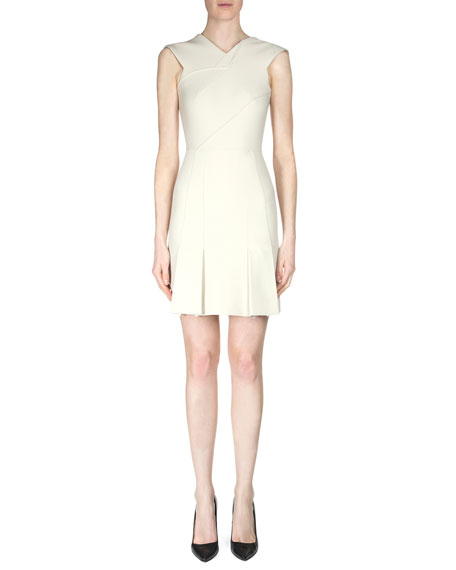 Roland Mouret Jenolan Sleeveless Dress with Asymmetric Seams, Cream