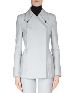 Long-Sleeve Zip-Detail Jacket, Pale Blue