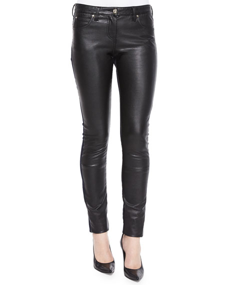Roberto Cavalli Waxed-Front Paneled Denim Jeans