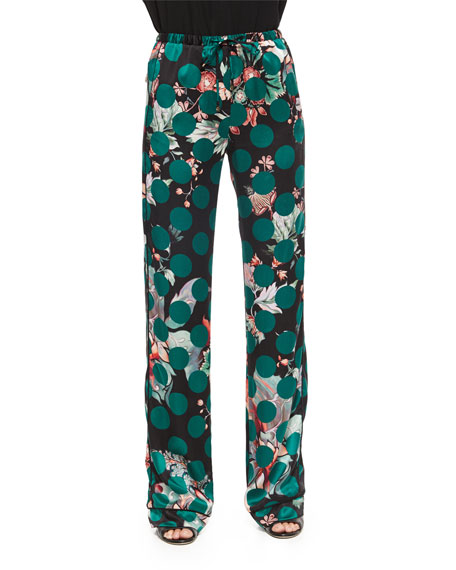 Roberto Cavalli Printed Silk Pajama Pants, Green Multi