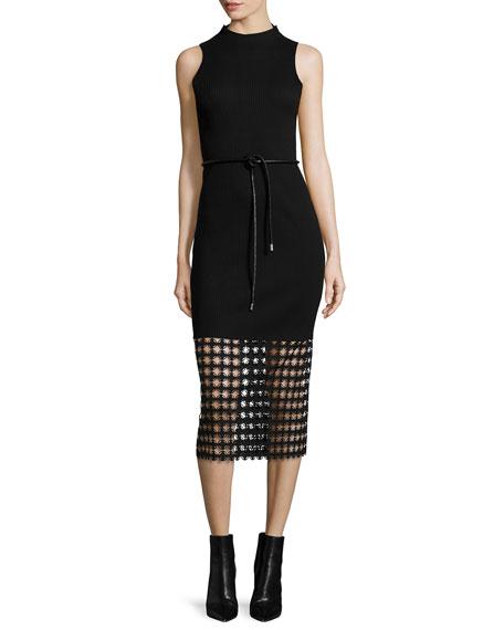 Chain Lace-Hem Ribbed Sheath Dress