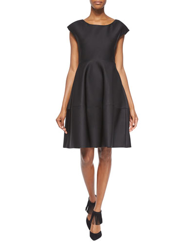 Bonded Satin Fit-And-Flare Dress