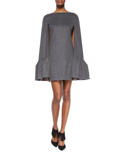 Ruffled Wool Flannel Cape Dress