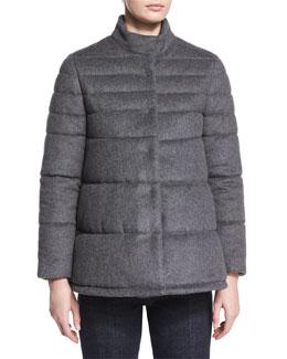 Flannel Puffer Coat, Charcoal