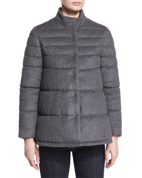 Co Flannel Puffer Coat, Charcoal