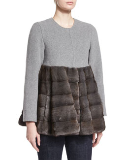A-Line Coat W/Fur, Light Gray