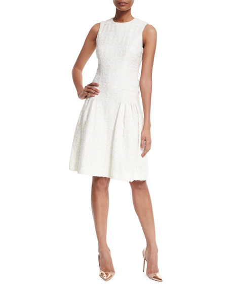 Carolina Herrera Vinyl Tweed Pleated Cocktail Dress