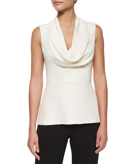 Carolina Herrera Cowl-Neck Peplum Top