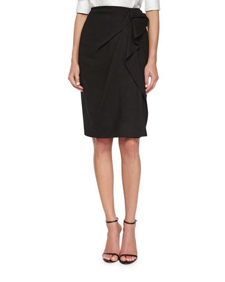Carolina Herrera Side-Ruffled Faux-Wrap Skirt
