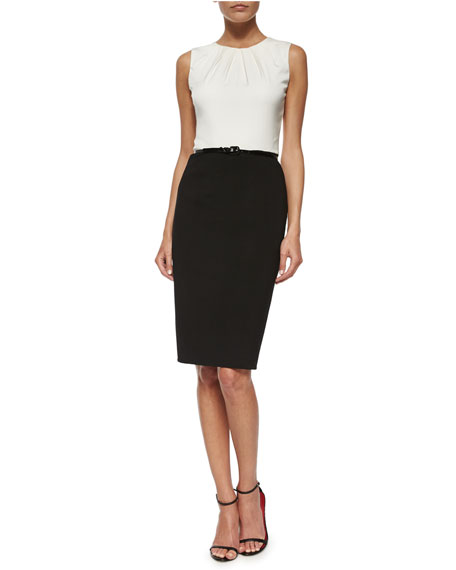 Carolina Herrera Two-Tone Pintucked Combo Dress