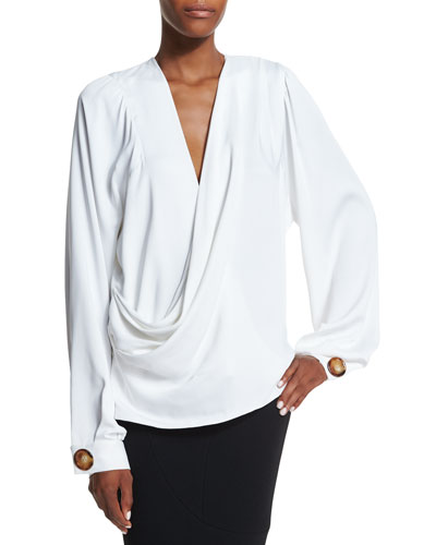 Draped-Front Full-Sleeve Blouse, Cream
