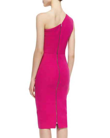 One-Shoulder Asymmetric Seamed Sheath Dress