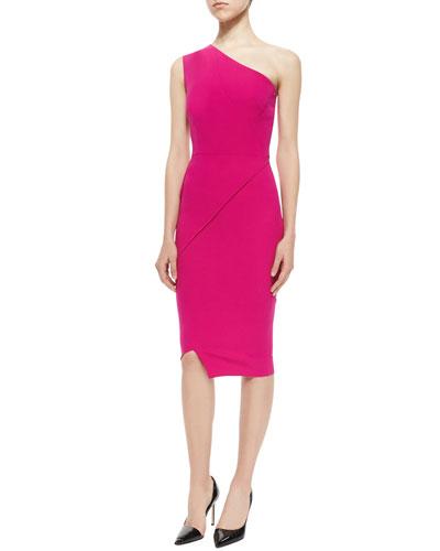 One-Shoulder Asymmetric Seamed Sheath Dress