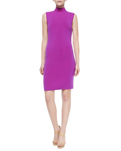 Sleeveless Mock-Neck Dress, Fuchsia