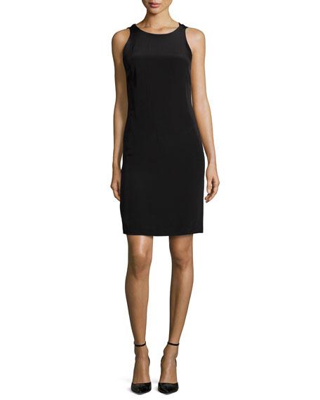 Sleeveless Ruffle Back Colorblock Sheath Dress Black