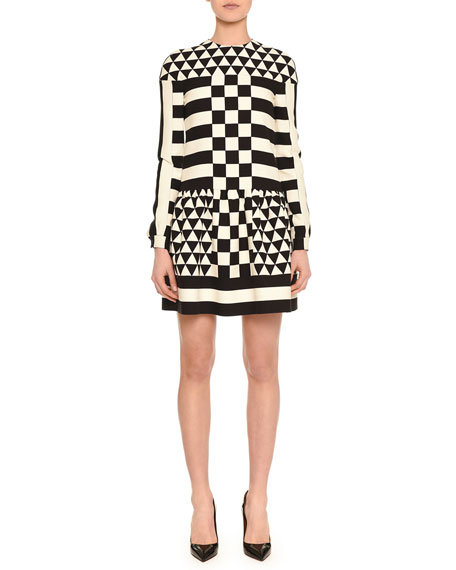 Valentino Long-Sleeve Jewel-Neck Geometric Squares Dress, Black/White