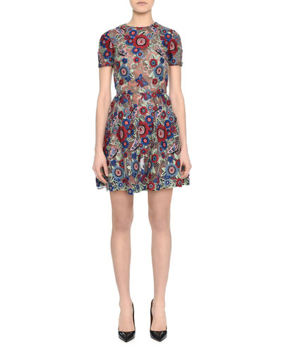 Short-Sleeve Jewel-Neck Lace Applique Dress, Floral