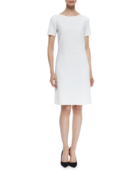 Agnona Short-Sleeve Bateau-Neck Shift Dress, Ivory
