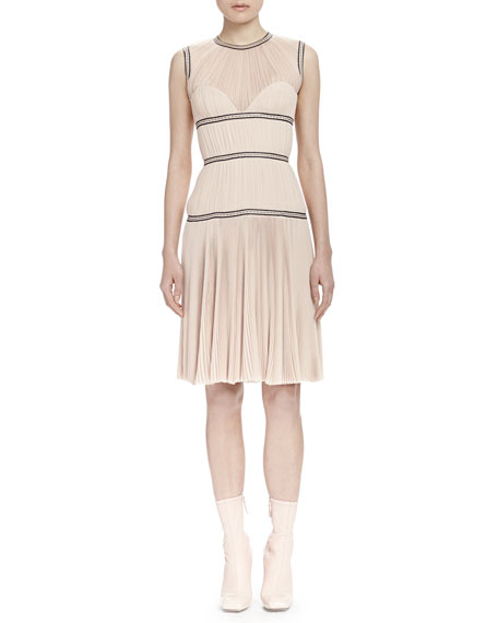 Alexander McQueen Sleeveless Contrast-Band Dress, Nude (Teint)
