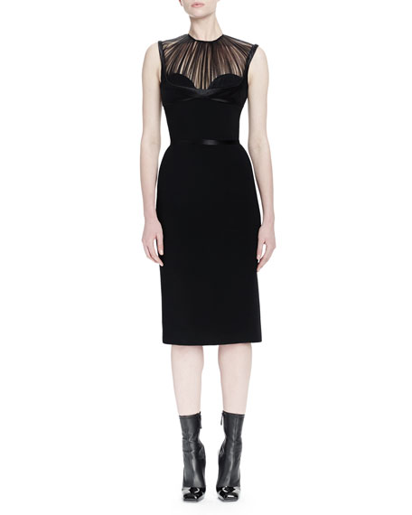 Alexander McQueen Pleated Tulle Bustier Sheath Dress
