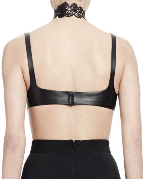 Alexander McQueen Halter-Neck Leather Bra Top w/Lace Detail, Black