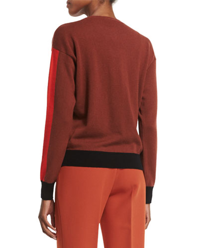 Long-Sleeve Cashmere Sweater, Red/Multi