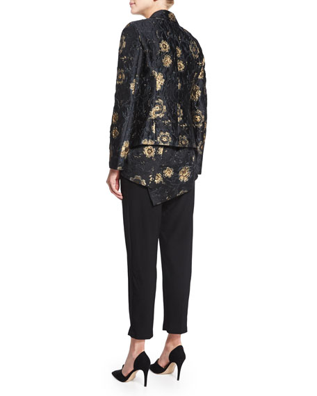 Metallic Floral-Embroidered Jacket, Black/Gold