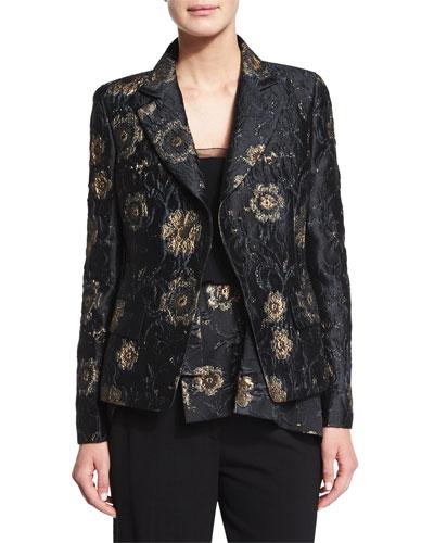 Metallic Floral-Embroidered Jacket, Black/Gold