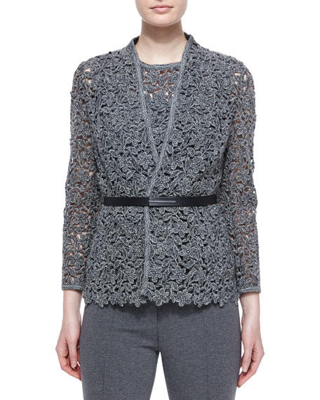 Escada Floral Lace Open Jacket w/ Belt