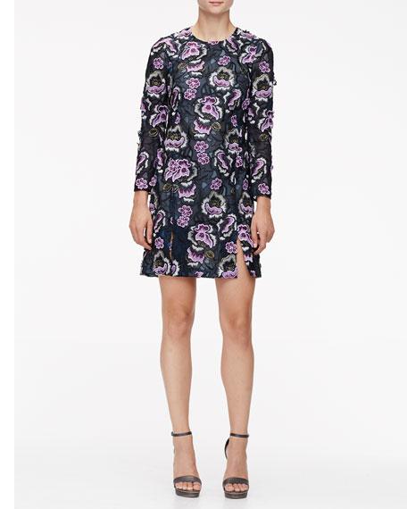 Wes Gordon Floral-Embroidered Slit A-Line Dress