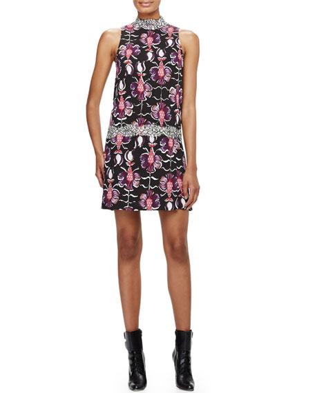 Wes Gordon Roman-Collar Drop-Waist Floral Dress