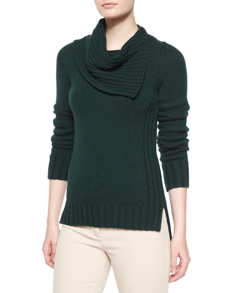 Derek Lam Cashmere Long-Sleeve Folded-Collar Sweater, Dark Green